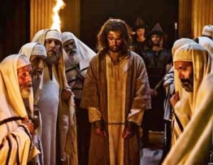 Jesus (Diogo Morgado) on trial with the Pharisees (Joe Alblas / © 2013 LightWorkers Media & Hearst Productions)